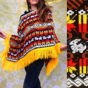 Vintage🐰70s Conejo Woven Fringed Poncho